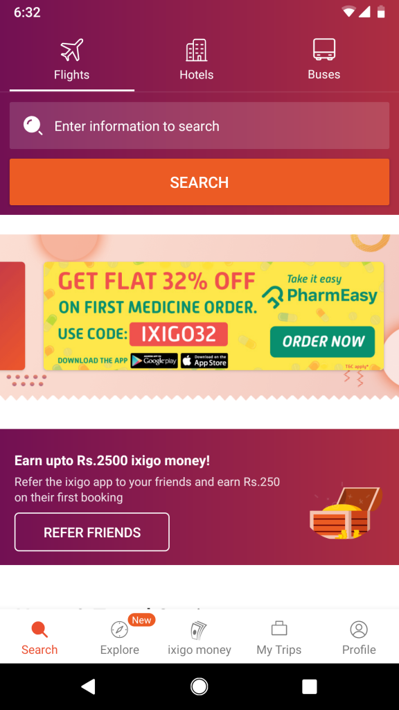 Ixigo's mobile app promoting Pharmeasy's exclusive offer