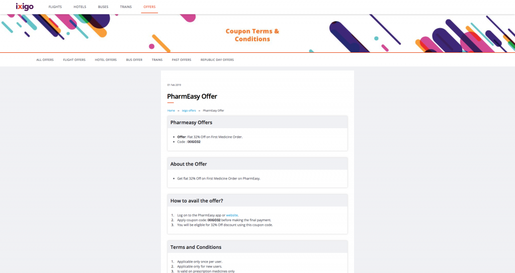 Landing page of Pharmeasy's offer on Ixigo's website